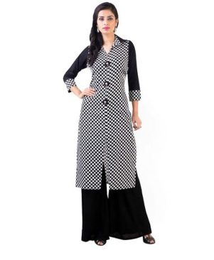 BLACK CREPE CHECKED KURTA