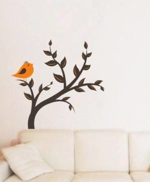Multicoloured Orange Bird On Tree Vinyl Wall Stickers