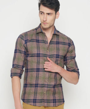 Cotton Checked Slim Fit Casual Shirt