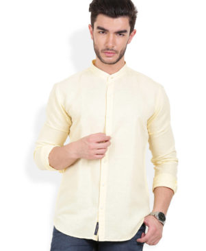 Cotton Solid Slim Fit Yellow Casual Shirt