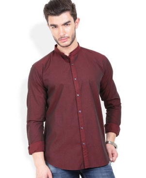 Cotton Solid Slim Fit Maroon  Casual Shirt