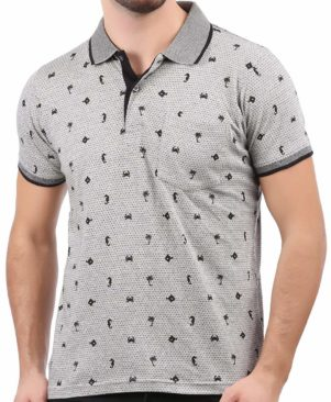Cotton Polo Grey Printed