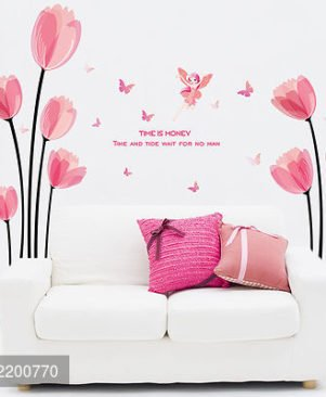 Multicoloured Timeofmoney theme wallsticker