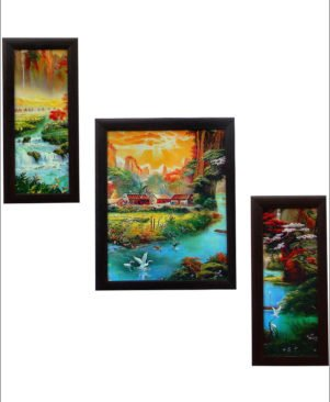 3 Pc Set Of Scenery Paintings Without Glass
