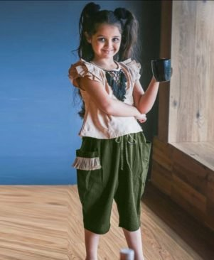 Military Green Western Style Kids Wear