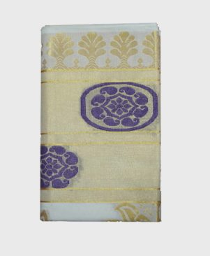 Kuthampully Golden Jaccard Kerala Saree