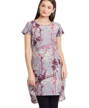 Crepe Floral Printed High-Low Tunic