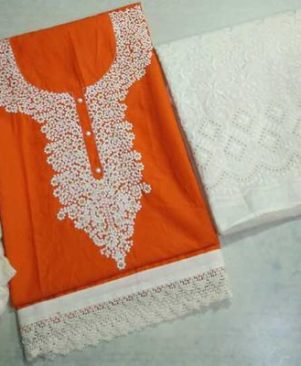 Pure cotton embroidered dress materials with chicken work palazo