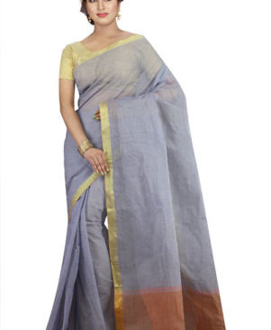 Blue Self Pattern Taant Cotton Saree
