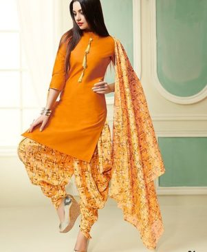 Yellow Printed Cotton Dress Material with Dupatta