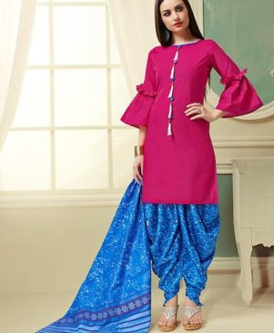 Pink Printed Cotton Dress Material with Dupatta