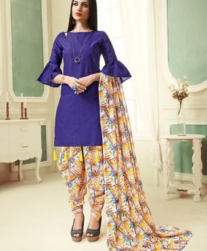 Blue Printed Cotton Dress Material with Dupatta