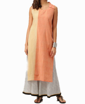 Orange and Beige Pure Mangalgiri Handloom Cotton Block Kurta