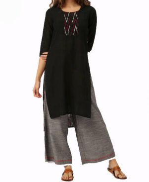 Embroidered Cotton and Ikat High Low Kurta