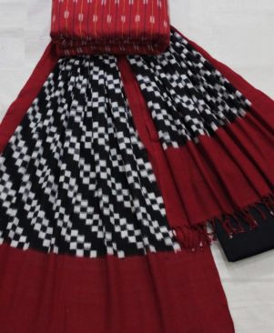 Red Double Ikkat Dress Material with Dupatta