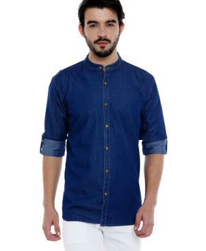 Solid Long Sleeves Denim Mandarin Collar Casual Shirt