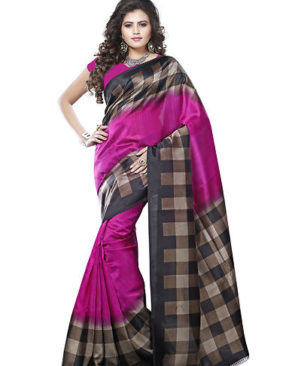 Checked Art Silk Saree With Blouse
