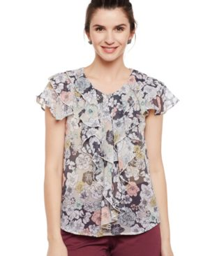 RT_1120 White & Multi color Printed Top