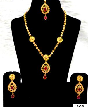 White and Red Diamond Work Necklace Set with Maang Tika