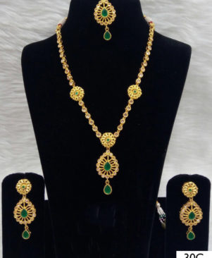 White and Green Diamond Work Necklace Set with Maang Tika