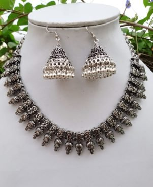 German Oxidized silver Necklace Earring Set