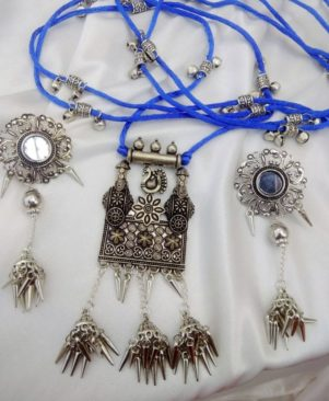 German silver pendant long thread set