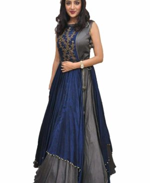 Grey Designer Art Silk Party Wear Gown