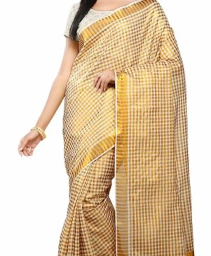 Cotton White Kasavu Saree