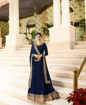 blue embroidered georgette Ethnic Gown
