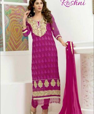 Magenta and Golden Straight Suit