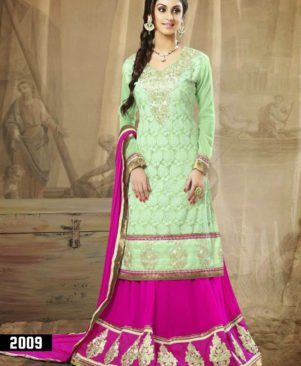 Light Green and Magenta Lehenga Choli
