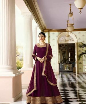 purple embroidered georgette Ethnic Gown