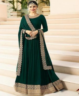 green embroidered georgette Ethnic Gown