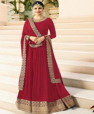 Red embroidered georgette Ethnic Gown