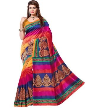 Bhagalpuri Saree Printed Artsilk Saree With Blouse Piece