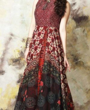 maroon printed stitched party wear  Gown