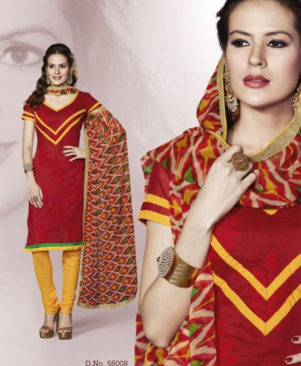 Red and Yellow Chanderi Churidar Suit