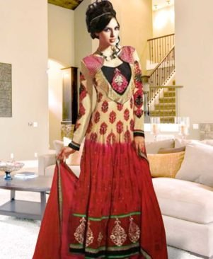 Ivory and Carrot Pink Anarkali Suit