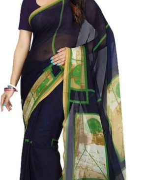 Blue Georgette Printed Saree With Blouse Piece