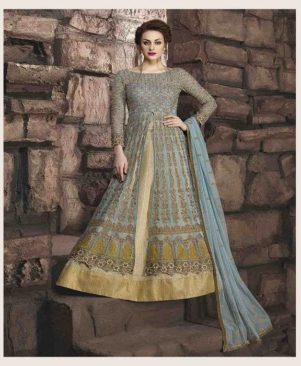grey embroidered georgette Ethnic Gown