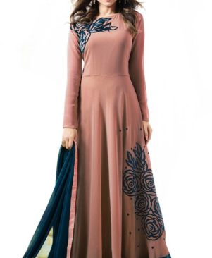 Peach embroidered Ethnic Gown