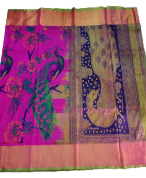 UPPADA PEACOCK PRINTED PURE SILK SAREE
