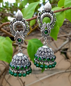 German Oxidized silver jhumka  Set