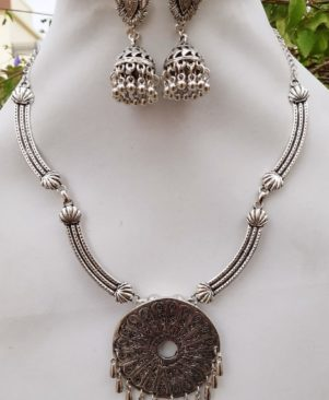 German Oxidized silver Necklace set with jhumka pair