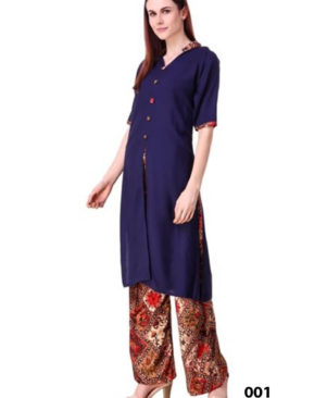 Dark Blue Rayon Top With Printed Plazo