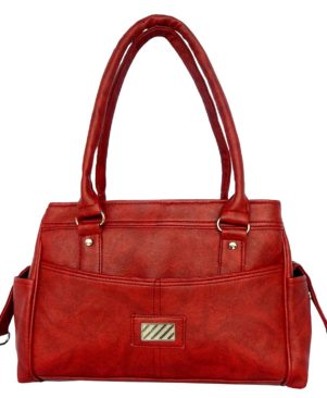 Red solid handbag