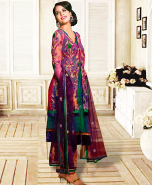 Dark Pink and Dark Green Anarkali Suit