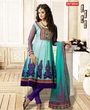 Blue and Dark purple Anarkali Suit