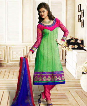 Light Green and Pink Anarkali Suit