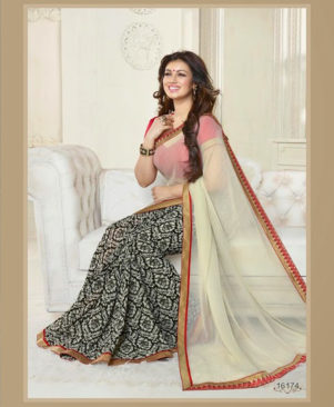Ivory and Black Designer Saree